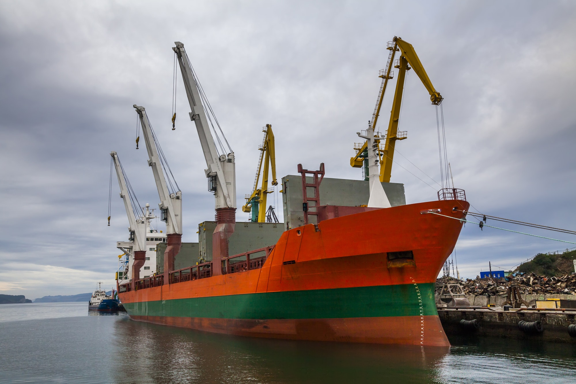 Cargo ship in the port. Kamchatka Peninsula.